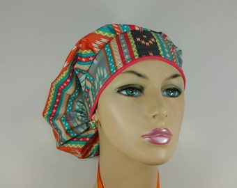 Bouffant Cap / Ponytail surgical Cap - Tribal Prints - 100 % Cotton