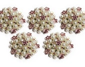 Metal Rhinestone Buttons - Pearl Cluster Button - 26mm SET OF FIVE - white pearl, pink stones