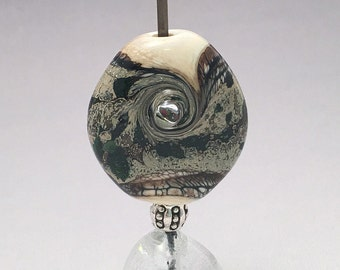 Organic Lampwork Glass Focal Bead - Green Aventurine Frit - Artisan Lampwork Glass Bead - Natural Beads
