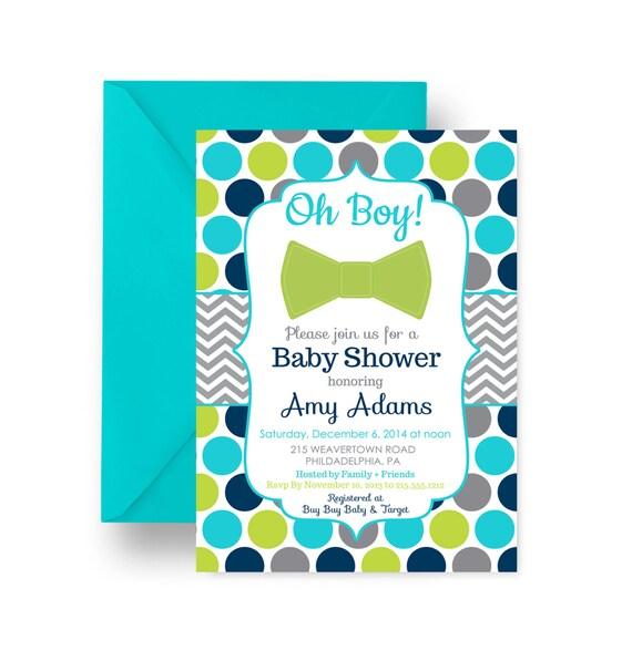vibrant boys baby shower invitation bow tie aqua and navy polka
