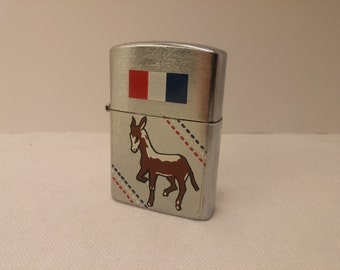 1960s DNC Democratic Party branded AMICO Japan flip-top windproof lighter - New Old Stock NOS - Never lit