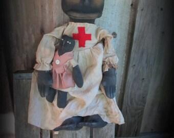Primitive~Folk Art Doll~ Nurse Boo Boo W/ Candy Stripe doll Handmade Decor
