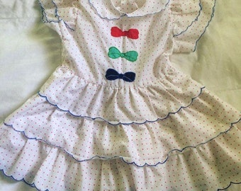 Vintage bow Party dress tiered polka dot ruffles 18- 24 months