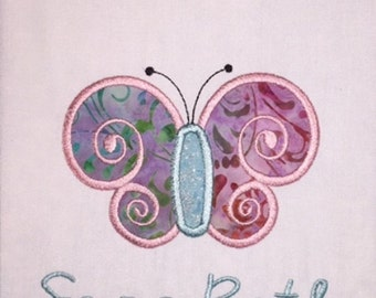 Youth Spring Butterfly Applique  Short or Long Sleeve Shirt with Embroidered Personalized Name