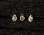 AAA CZ diamond in teardrop shape casting push in 16g bio flexible tragus /forward helix / lip / medusa piercing