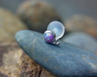Purple Opal (3mm) bazel set with trinity ball 16g bio flexible tragus /forward helix / lip / medusa piercing (1pc)