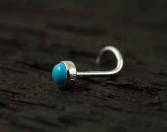 Turquoise cabachon 3mm bazel setting nose stud / nose screw / nose ring