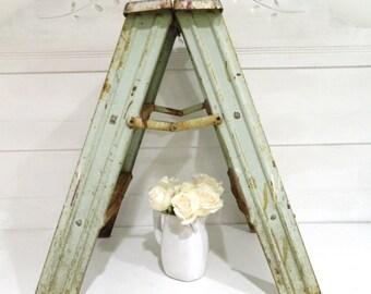 Vintage Step Ladder Metal Green Industrial Shabby