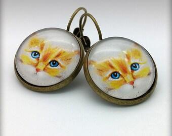 Kitten Domed Glass Earrings, Brass Leverback