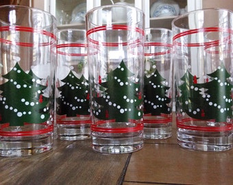 Reserved**** Layaway 1  Waeschtersbach Christmas Drinking Glasses Set 8 Christmas trees with White Garland