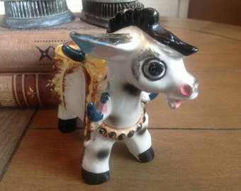 Vintage Kitsch Donkey Figurine He is Colorful and Sweet with Big Darling Eyes
