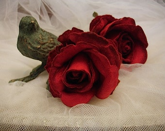 Large Red felt red Rose Millinery Flower,  LARGE red roses bouquets for hats,  Bridal Bouquets Crafts (2  pieces)