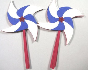 4th of July Scrapbook Embellishments, Paper Pinwheels, 4th of July Pinwheels, Patriotic Scrapbook Embellishments, Red White & Blue
