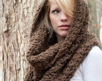 SUMMER SALE Chunky Cowl Scarf Shawl Hood - Mocha/Bark - large - limited quantities - the CHARLOTTE