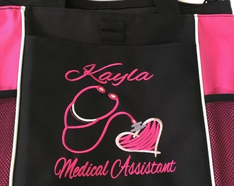 Personalized Medical Assistant Nurse Student Nurse  RN BSN CNA  Zippered Embroidered Monogrammed Tote Bag