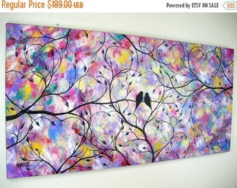 ART SALE Large Contemporary Love Birds Painting Bird Silhouette Canvas Art Modern Abstract Romance Colorful Over the Bed Couch Decor 24x48 J