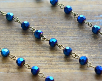 Glass Bead Chain COBALT BLUE Bead Chain 6mm Glass Beads on Antique Bronze Wire Necklace Bracelet Rosary Chain Jewelry Making (EC126)