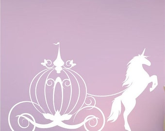 Summer sale Horse and Carriage wall decal girls fairytale bedroom Vinyl decor diy