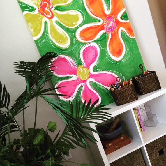 SALE Large Pink Green Orange  Bright Flower Painting for Little Girl Tween or Teen Room