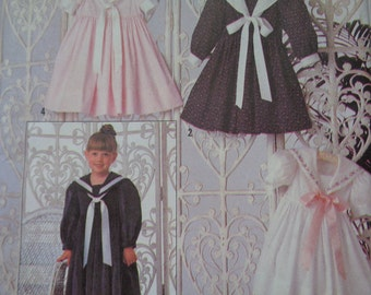 Simplicity 9940 Sewing Pattern 90s Girls Dress and Embroidery Transfers Uncut Size 2-6x