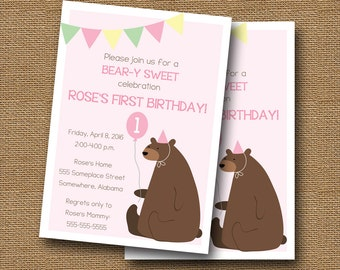 Bear Birthday Invitation | Baby's First Birthday | Teddy Bear Party | Little Girl's Beary Sweet Birthday Party | Pink Party | DIY PRINTABLE
