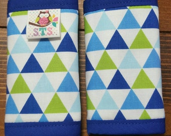 Reversible Car Seat Strap Covers Blue Green Diamonds on White with Blue Dimple Dot Minky Cuddle Baby Boy Accessories Newborn ITEM #107