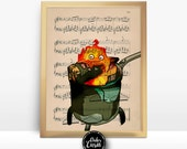 Calcifer's Curse Howls Moving Castle Ghibli Print on an Unframed Upcycled Bookpage