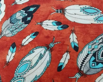Feather fabric Wild West Indian Geometric Print Fabric By the Yard