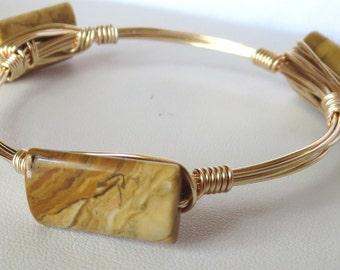 "Tigerskin (Yellow) Jasper Bangle Bracelet ""Bourbon and Bowties Inspired"""