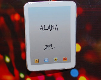 Personalized White iPad Tablet Christmas Ornament