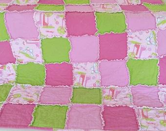 TODDLER Pink & Green Rag Quilt Handmade Soft Flannel