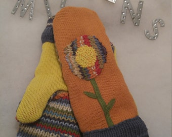 Recycled, Repurposed, Upcycled Wool or Cotton Sweater Mittens