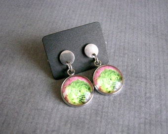 Cactus Photo Earrings : Watercolor Glass Jewelry