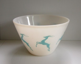 Vintage Rare Gazelle Mixing Bowl Fire King Large Spill Proof Milk Glass