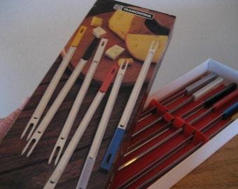 Vintage fondue forks.  Set.  Six forks.  Original box.