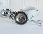 Tea strainer with drip cup, shabby afternoon tea set, sifter with holder,  tarnished housewares