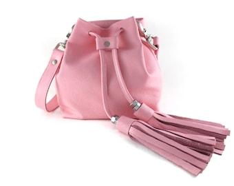 NEW! Mini Bucket  Bag - Milkshake Pink - LIMITED | Drawstring Bag | Shoulder Bag | Crossbody | Cowhide | Leather | Handmade | Tassel |Fringe