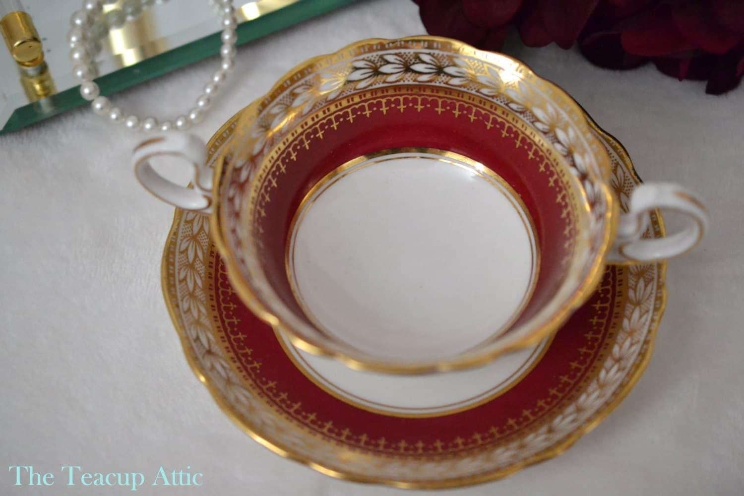 ON SALE Aynsley Red and Gold Double Handled Cream Soup Bowl And Saucer, Aynsley Pattern 6692, Elegant English Bone China, ca. 1925-1934