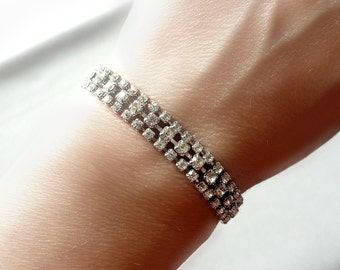 Art Deco Bracelet - 3 Row Vintage Rhinestone Bracelet -  Bridal Jewelry - Vintage Wedding - Bridesmaid Jewelry