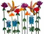 Batik Fabric Collage Art Hummingbirds with Flowers Archival Art Print