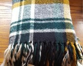 Vintage Wool Blanket Plaid Stadium Blanket Tartan Camp Blanket Throw Blanket Troy