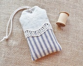 Navy Ticking and Lace, Organic Lavender Sachet