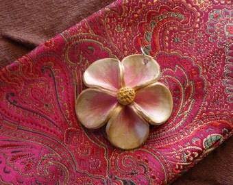Gilded Pink Five Petal Flower Pendant