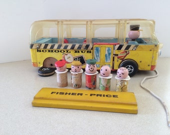 Vintage Fisher Price Safety Bus Restoration Project  1961  Straight Sided Little People Wood Bus Clear Top Please Read Description