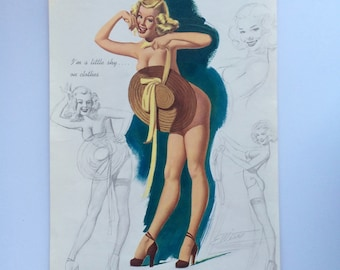 "1950 Freeman Elliott Pin Up Art April 1950 Artists Sketch Pin Up   ""I'm a little shy on clothes"" Nude Behind Beach Hat Brown and Bigelow"