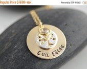 Valentines Day Gift Hand Stamped Gold Necklace, Mommy Jewelry, Sterling Silver Family Tree, Layered Birthstone necklace, Personalized Neckla