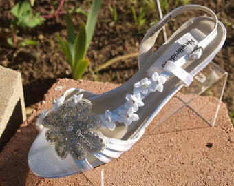 Wedding Shoes low Wedge 1 inch heel flowers crystals,Short Heel,White Satin Open Toe Bridal Sandal, Bling, White Flowers, Old Hollywood,Deco