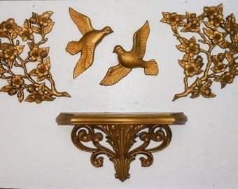 5 Pc Burwood Set 2 Doves 2 Florals 1 Wall Shelf