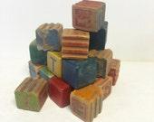 vintage childrens blocks, blocks, wood blocks
