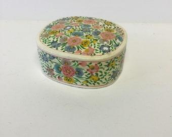 Small floral box, vintage box, floral box
